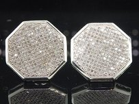 Other Diamond Octagon Studs 10k White Gold Round Cut Pave Earrings 0.95 Tcw.
