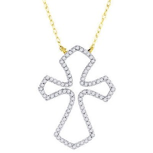 Jewelry For Less Diamond Outline Cross Pendant 10k Yellow Gold Religious Charm With Cable Chain