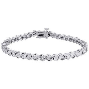 Jewelry For Less Diamond S-link Tennis Bracelet Ladies .925 Sterling Silver Round Cut 7 0.11 Ct