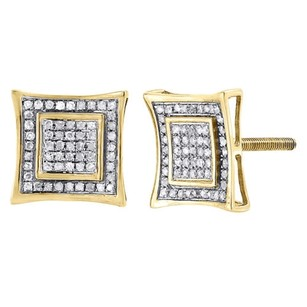Jewelry For Less Diamond Square Kite Studs 10k Yellow Gold Round Pave Design Earrings 0.29 Tcw.