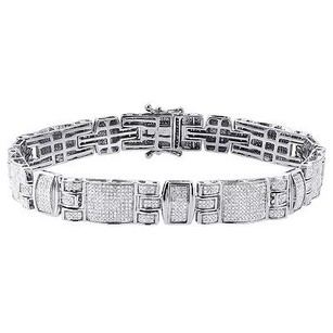 Jewelry For Less Diamond Statement Bracelet Mens White Gold 8.50 Link Pave Round Cut 2.81 Ct.