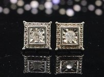 Other Diamond Studs .925 Sterling Silver Round Solitaire Square Earrings 0.27 Tcw.