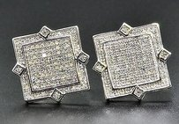 Jewelry For Less Diamond Studs Square Shape Point Mens Ladies 10k White Gold Earrings 0.52 Ct.