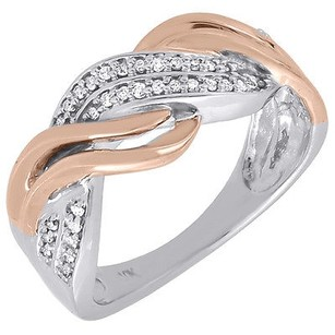 Diamond Wedding Band 10k Two Tone White Rose Gold Round Cut Ladies Ring 0.16 Ct