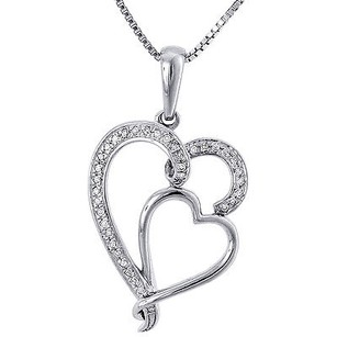 Jewelry For Less Double Heart Diamond Pendant 10k White Gold Round Charm With Necklace 0.11 Ct.