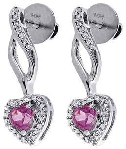 Diamond,Heart,Created,Pink,Sapphire,Dangle,Earrings,10k,White,Gold,0.76,Tcw