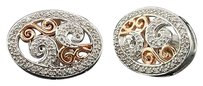 Diamond,Earrings,Ladies,.925,White,Gold,Finish,Round,Pave,Circle,Design,Studs,