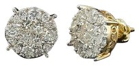 Diamond,Earrings,Ladies,14k,Yellow,Gold,Princess,Round,Cut,Studs,2,Tcw.