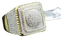 Mens,2,Ct.,Yellow,Gold,Finish,Pave,Diamond,Pink,Ring,Huge,Square,Domed,Face,16g
