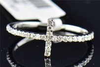 Ladies 14k White Gold Pave Diamond Sideways Cross Fashion Cocktail Ring .23 Ct.