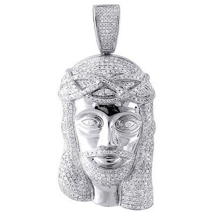 Jewelry For Less Genuine Pave Diamond Jesus Piece Charm 10k White Gold 2.50 Pendant 3.05 Ct.