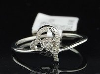 Jewelry For Less Heart Shape Diamond Ring Ladies 10k White Gold Promise Fashion Band 0.11 Ct.