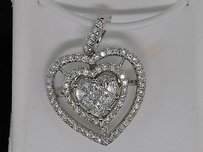 Heart Shaped Diamond Pendant Charm Princess Cut 14k White Gold 1.85 Ct