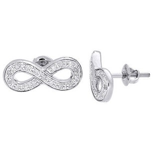 Jewelry For Less Infinity Earrings Diamond Studs Ladies 10k White Gold Round Cut Pave 0.20 Ct.