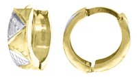 Jewelry For Less 10k Yellow Gold Diamond Cut Hinged Hoop 0.55 Fashion Earrings