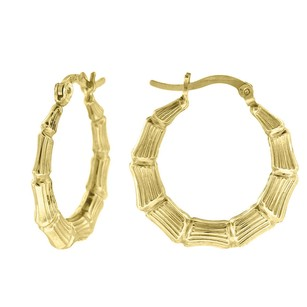 10k Yellow Gold Bamboo Hinged Hoop 0.94 Fashion Earrings