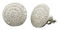 Ladies 10k White Gold Round Cut Designer Pave Diamond Earrings Studs 0.40 Ct.