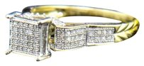 Other Ladies 10k Yellow Gold Round Cut Diamond Engagement Fashion Cocktail Pave Ring