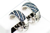Ladies .925 Sterling Silver Blue Diamond Hoops Huggies Earrings Studs 0.64 Ct.
