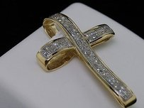 Jewelry For Less Ladies Yellow Gold Diamond Cross Jesus Charm Pendant