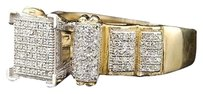 Other Ladies Yellow Gold Pave .5c Diamond Square Fashion Ring