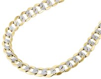 Other Men 10k Yellow Gold 8mm Hollow Cuban Curb Necklace Diamond Cut Pave Chain 22-30