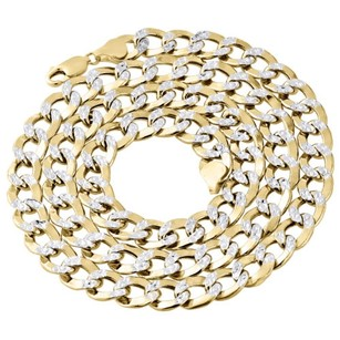 Other Mens 10k Yellow Gold 9.50mm Diamond Cut Hollow Cuban Curb Necklace Chain 22-30