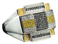 Mens 925 Sterling Silver Black Yellow Diamond Pinky Ring Big Domed Head .70 Ct