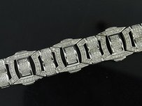 Jewelry For Less Mens Diamond Fashion Bracelet .925 Sterling Silver Round Pave Link Design Ct