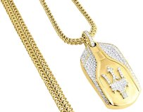 Other Mens Diamond Maserati Key Pendant .925 Sterling Silver Brushed W Chain 1.50 Ct.