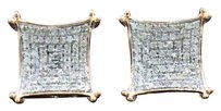 Mens Ladies 10k Rose Gold Double Prong Square Real Diamond Stud Earrings .50 Ct.