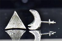 Jewelry For Less Mens Ladies 10k White Gold Round Cut Diamond 3d Triangle Studs Earrings 1.42 Ct