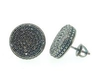 Mens Ladies Sterling Silver Black Diamond Square Circle Earrings Studs 0.95 Ct.