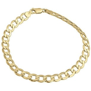 Jewelry For Less Mens Or Ladies 10k Yellow Gold Flat Cuban Curb Mm Link Bracelet 8-10 Inches