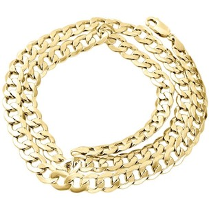 Jewelry For Less Mens Real 10k Yellow Gold Hollow Cuban Curb Link Chain Necklace 8mm 22-30 Inch