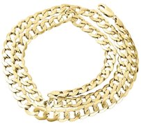 Other Mens Real 10k Yellow Gold Hollow Cuban Curb Link Chain Necklace 8mm 22-30 Inch