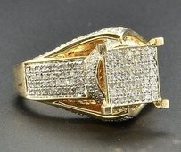 Diamond Engagement Ring .925 Sterling Silver Yellow Finish Square Head 1.10 Ct.