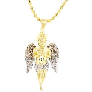Jewelry For Less Mini Angel Cherub Real Diamond Pendant .925 Charm 0.25 Tcw With Moon-cut Chain