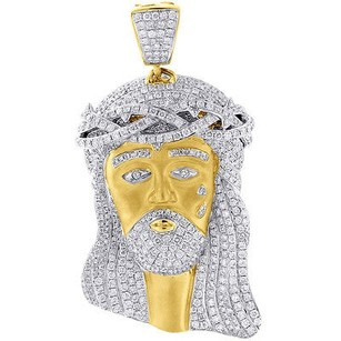 Jewelry For Less Mini Diamond Jesus Piece Solid Back Pendant Charm Face 10k Yellow Gold Ct.