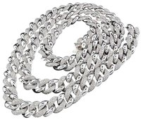 Real,Diamond,Miami,Cuban,Chain,Mens,White,Gold,Finish,11,Mm,Necklace,Link,8,Ct.