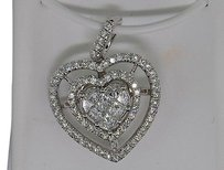 Heart,Shaped,Diamond,Pendant,Charm,Princess,Cut,14k,White,Gold,1.85,Ct