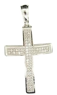 Ladies,10k,White,Gold,Pave,Set,Cross,Diamond,Pendant,Charm,For,Necklace,0.25,Ct.