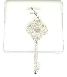Ladies,10k,White,Gold,Designer,Key,Lock,Diamond,Pendant,Charm,For,Necklace,.50ct