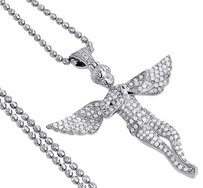 Diamond,Angel,Pendant,10k,White,Gold,Fully,Iced,Pave,Charm,Chain,Set,1.05,Ct.