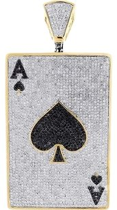 Diamond,Ace,Of,Spades,Pendant,Real,10k,Yellow,Gold,Charm,Casino,Poker,11.85,Ct.