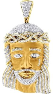Diamond,Xl,Jesus,Face,Piece,Head,Pendant,Mens,High,End,10k,Yellow,Gold,Charm
