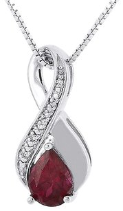 Diamond,Pendant,Charm,White,Gold,Finish,Created,Red,Ruby,W,Chain,1.72,Tcw.