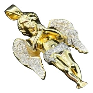 Real,Diamond,Mini,Angel,Pendant,Yellow,Gold,Finish,Cherub,Jesus,Charm,0.50,Ct