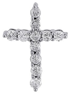 Diamond,Cross,Fashion,Pendant,Ladies,10k,White,Gold,Round,Charm,0.33,Tcw.