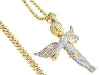 Diamond,Angel,Pendant,10k,Yellow,Gold,Fully,Iced,Pave,Charm,Chain,Set,2.15,Ct.